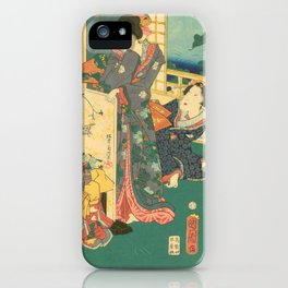 Spring Outing In A Villa Diptych #2 by Toyohara Kunichika iPhone Case