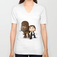 han solo V-neck T-shirts featuring Han Solo & Chewbacca by 7pk2 online
