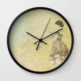 Vintage Woman Neck Gator Young Lady Vintage Lady Wall Clock