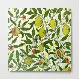 William Morris Exotic Fruit, Lemons and Pomegranates Metal Print