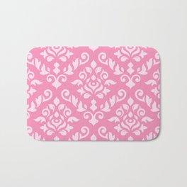 Damask Baroque Pattern Light on Dark Pink Bath Mat