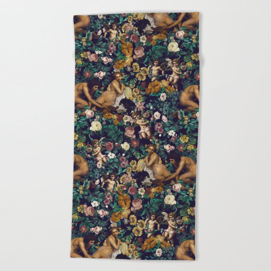 Young Greeks and Floral Pattern Beach Towel
