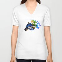 mario kart V-neck T-shirts featuring Mario Kart 8 - Link on the Mastercycle by brit eddy