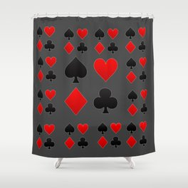 RED & BLACK PLAYING CARD  ART ON CHARCOAL GREY Shower Curtain