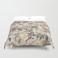 bedding Duvet Covers featuring Soft Vintage Rose Pattern by micklyn