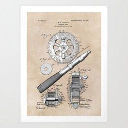 patent art Glocker Fishing reel 1906 Art Print