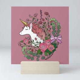 Unicorn in a Pink Rose Garden Mini Art Print