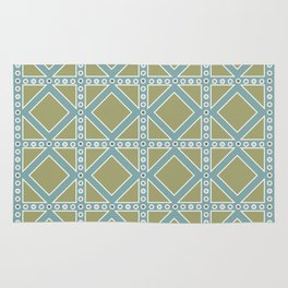 Moss Green and Teal Pattern Rug