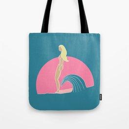 """Hang Ten"" Surfer Girl on Longboard Tote Bag"