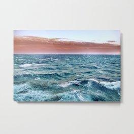 Brave ocean. vintage.  Windy high sea Metal Print