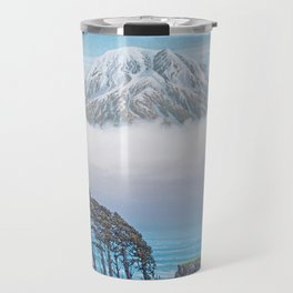 WINDSWEPT SEASIDE CYPRESS ROW AND LONE MOUNTAIN OIL PAINTING Travel Mug