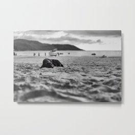 Dog in the sand Metal Print