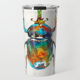 Colorful Beetle Art - Scarab Beauty - By Sharon Cummings Travel Mug