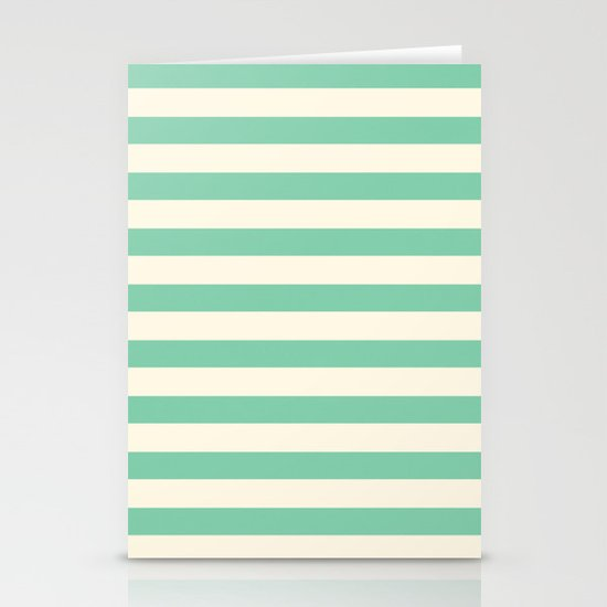 Mint Green Stripes  Stationery Cards