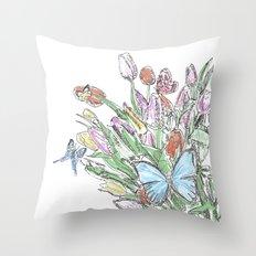 Watercolour, flowers and butterflies  Throw Pillow