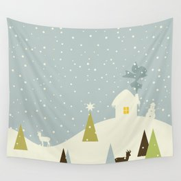 Christmas small house Wall Tapestry