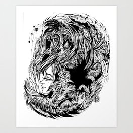 Bird Fox Hat Lady Illustration Art Print