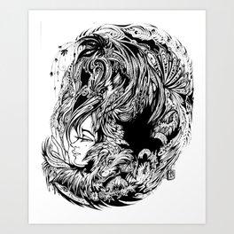 Bird Fox Hat Lady Illustration Art Print