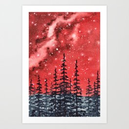 """Red Milky Way"" Galaxy watercolor illustration Art Print"