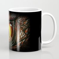 smaug Mugs featuring Smaug eye by Artwork by Alex