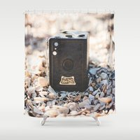 vintage camera Shower Curtains featuring Vintage Camera by Novella Photography