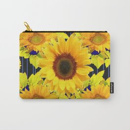 Yellow Sunflowers Pattern in Black-Blue Carry-All Pouch