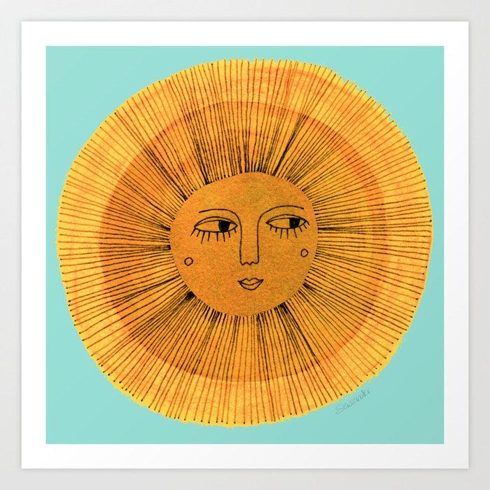 Sun Drawing Gold and Blue Kunstdrucke