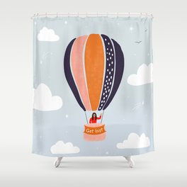 """""""Get lost"""" Hot air balloon adventure in the sky Shower Curtain"""