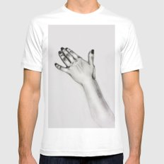 lady's hand MEDIUM Mens Fitted Tee White