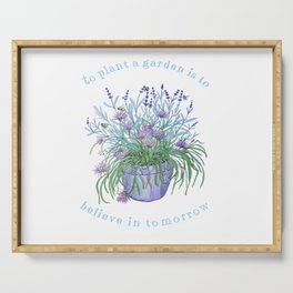 Lavender, honey bees and chives watercolor Serving Tray