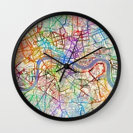 London England City Street Map Wall Clock