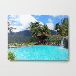 Tropical Pool Vacation Metal Print