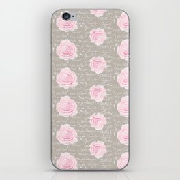 Watercolor roses on Taupe with French script iPhone Skin