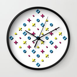 Diamond Pop Icons (CMYK on White) Wall Clock