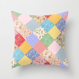 Happy Cottage Diamond Patchwork Quilt Throw Pillow
