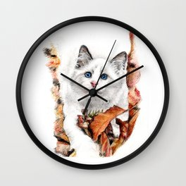 Playing in the fall Wall Clock