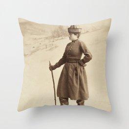 Vintage Skiing Photo of Eva Nansen Throw Pillow