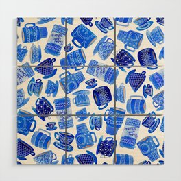 Coffee Mugs and Teacups - A study in blues Wood Wall Art