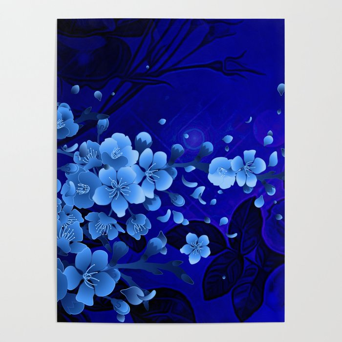 Cherry blossom, blue colors Poster