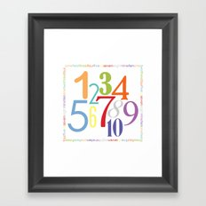 Numbers Square - Bright colorway Framed Art Print