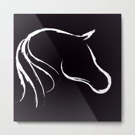 Horse white on black Metal Print