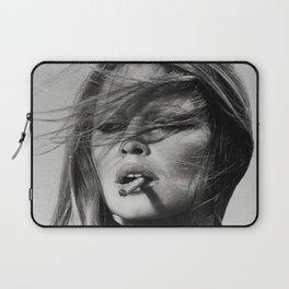 Brigitte Bardot Smoking a Cigarette, Black and White Photograph Laptop Sleeve