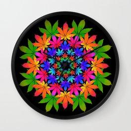 Cannabis Indica Leaf Mandala Wall Clock