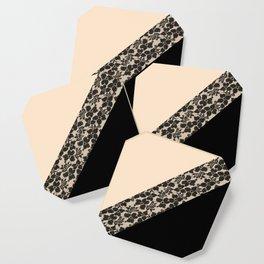 Elegant Peach Ivory Black Floral Lace Color Block Coaster