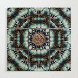 Om Shanti Fractal Geometry [ earthy aqua remix ] Wood Wall Art