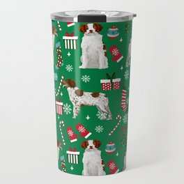 Brittany Spaniel christmas pattern dog breed presents stockings candy canes Travel Mug