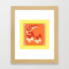 Monarch Butterflies Migration in Cumin Color & Yellow Art Framed Art Print