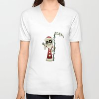 santa V-neck T-shirts featuring Santa Death by mangulica illustrations