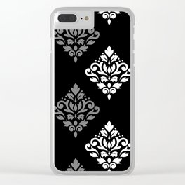 Scroll Damask Art I Black Grey White Clear iPhone Case
