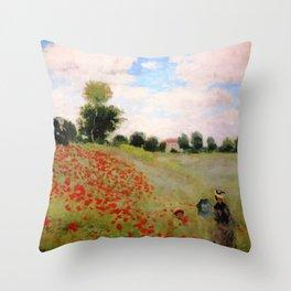 POPPIES - CLAUDE MONET Throw Pillow
